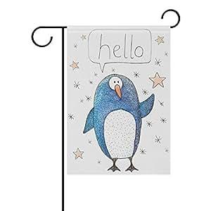 Doble cara Watercolor de pingüino, diciendo Hello poliéster casa jardín bandera Banner 12x 18/28x 40pulgadas para todo tipo de clima para boda fiesta, poliéster, multicolor, 12x18