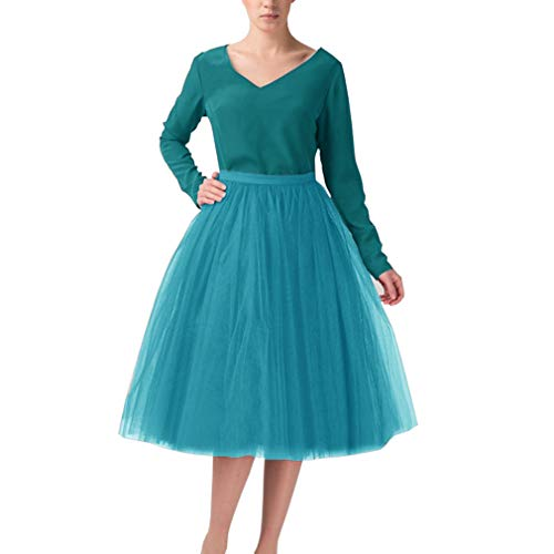 Wedding Planning A Line Short Knee Length Tutu Tulle Prom Party Skirt X-Large Blue068 ()