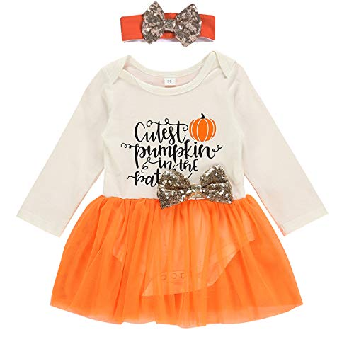 Infant Baby Girl Romper Letter Pumpkin Print Bodysuit Tops with Tulle Tutu Skirt with Headband 2pcs Clothes Outfits (Orange, 6-12 Months) (Baby Cutest Clothes)