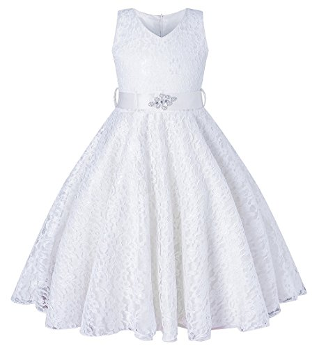 BEAUTY CHARM Girls Tulle Lace Glitter Vintage Pageant Prom Dresses with (Cheap Communion Dress)
