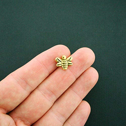 15 Bee Spacer Bead Antique Gold Tone 2 Sided - GC875 ()