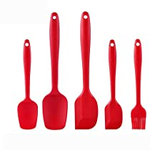 Petrista 5 Piece Silicone Kitchen Cooking Brush Spatulas Shovel Heat Resistant Cooking Utensils (Red 03)
