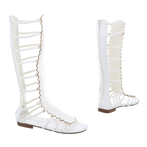 Ital-Design Zehentrenner Damenschuhe Blockabsatz Reißverschluss Sandalen Sandaletten Weiß JC-174
