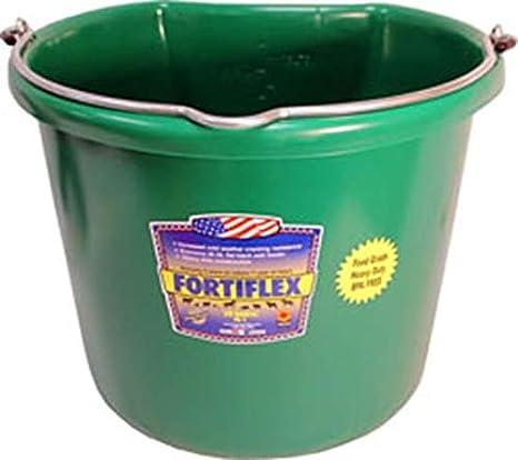 Fortiflex Flat Back Feed Bucket for Horses 20-Quart Black