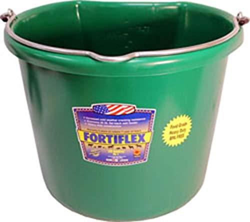 Fortiflex Flat Back Feed Bucket for Horses, 20-Quart, Green by Fortiflex