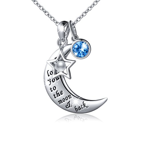 "JZMSJF S925 Sterling Silver ""I Love You to The Moon and Back""Charm Crescent Star/Christmas Hat Pendant Necklace Forever Love for Mom,Wife,Lover,Couple by JZMSJF"