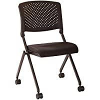 Office Star Breathable Flexible Plastic Back Armless Folding Nesting Chair with Padded Fabric Seat and Casters, 2-Pack, Black