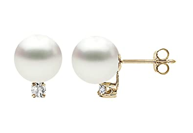f529d5ce1 Image Unavailable. Image not available for. Color: 14k Yellow Gold AAAA  Quality White Freshwater Cultured Pearl Diamond Stud Earrings ...