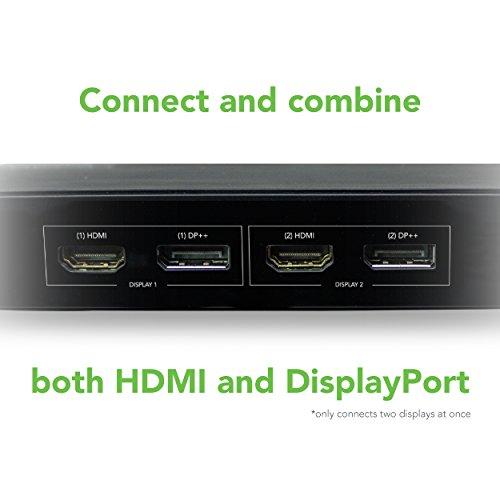 Plugable USB 3.0 Dual 4K Display Horizontal Docking Station with DisplayPort and HDMI for Windows (Dual 4K DisplayPort & HDMI, Gigabit Ethernet, Audio, 6 USB Ports) by Plugable (Image #2)