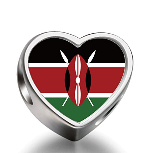 Kenya flag Heart Silver Plated Charms Bracelet Necklace Beads Waist Beads 6mm Hole Craft Metal Beads floating Charms for Women (Metal Kenya New)