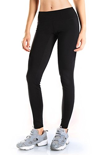 (Yogipace Petite/Regular/Tall,Women's Water Resistant Fleece Lined Thermal Tights Winter Running Cycling Skiing Leggings with Zippered Pocket,28