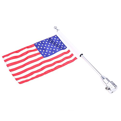E-Bro Luggage Rack Vertical Rear Side Mount Flag Pole with American Flag For Harley Davidson Honda Suzuki Yamaha (USA Flag with Round Pole) by E-Bro (Image #1)