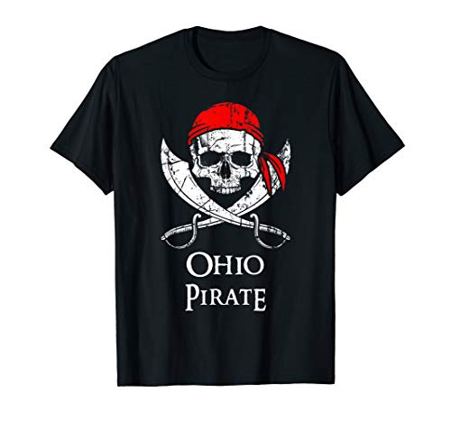 Ohio Pirate Jolly Roger Skull State T-Shirt -