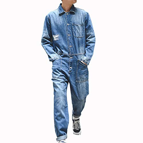 - Men Denim Jumpsuit Japanese Youth Retro Lapel Down Long Sleeve Tooling Casual Loose Jacket Korean Version Bib Pants Tide Trend Street
