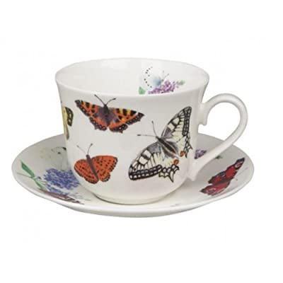 Roy Kirkham Butterfly Garden Large Breakfast Tea Cup Teacup and Saucer Set Fine Bone China