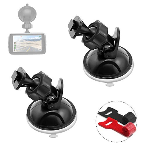 Dash Cam Mount, AQHQUA Strong Car Dash Camera Suction Cup Mount Holder for Yi/Z-Edge/G1W(2 Pack), Car Windshield & Dashboard Suction Mount Holder for Most Dash Car DVR Camera GPS, No Harm to Car Glass