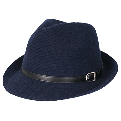 - ililily Women Knitted Small Brim Slim Faux Leather Belted Fedora Hat, Indigo Blue