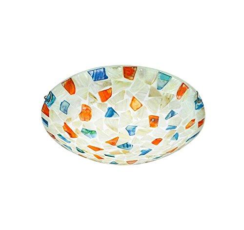 Lumière Blanche 30cm LED Bohême Style Plafond Fabriqué à la Main Vitrail Shell Shell Plafonnier Salon Chambre Allée Décoration Pendentif Plafonniers GJX (Couleur   Lumière blanche, Taille   30cm)