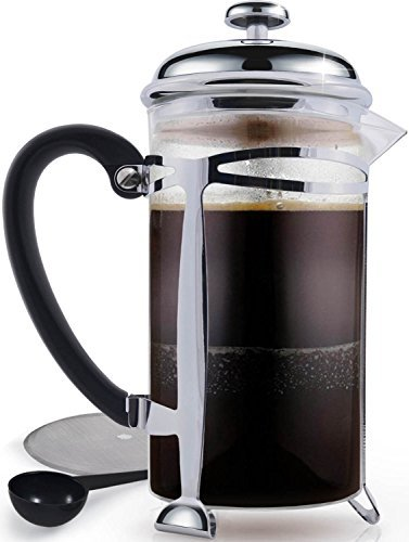Best French Press Coffee Maker (Ultra Fine Filtration)  1 Liter (34 Ounce) Brews 4 Cups of Coffee, Extra Fine Stainless Steel Filtration, Cafetiere, Extras Included!