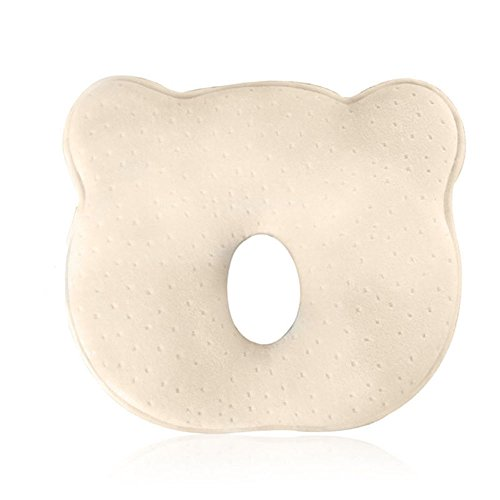 Soft Memory Foam Newborn Baby Head Positioner Neck Support Pillow Prevent And Adjust Flat & Deflective Head Syndrome Sleeping Pillow For 1-12 Months Infant, 10 Inches Bear Shape (beige)