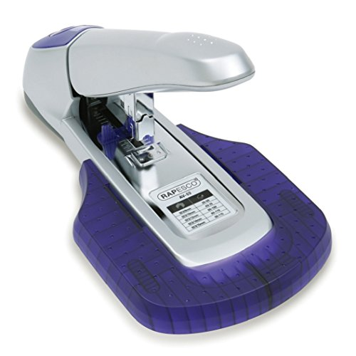 Rapesco AV-69 Heavy-Duty Stapler with Work Tray, 115-Sheet Capacity, Silver/Purple (0461)