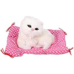 KEYREN 1 Unids Gatito Juguete de Peluche Juguetes Sonido de Gato Súper Lindo Mini Simulación Sentado Gatitos Gatos Muñeca Regalo de Navidad(Blanco)