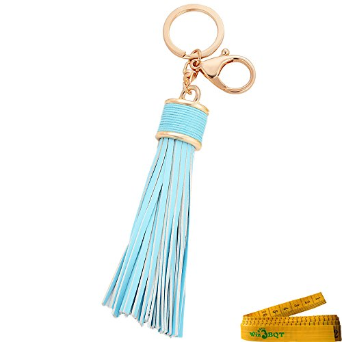 Leather Artificial Mirror (Girl Women Artificial Leather Tassels Keychain Circle Keys Ring Handbag Decoration Purse Hanging Addition Car Pendant Gift (Light Blue))