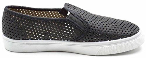 Charles Albert Women's Ecentrcq Slip-On Fashion Sneaker Canvas Slip On Elastic Gore Flat Sneakers Black Perf z9W6o