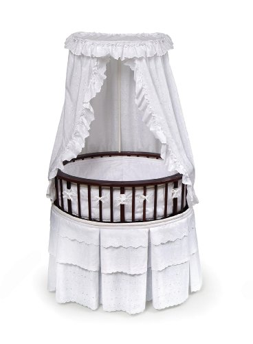 Elite Metal Bed - Badger Basket Elite Oval Baby Bassinet, Cherry with White Eyelet