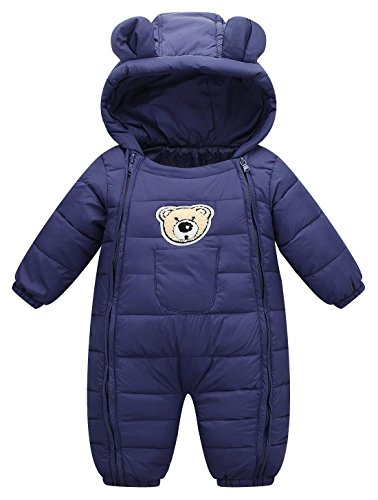 Baby Cotton Clothes Down Jacket Jumpsuits Infant Crawling Clothes Dark Blue 3-9 - Down Suit