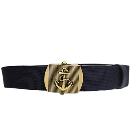 Gucci Brass Anchor Buckle Canvas Belt 375191 Navy Blue