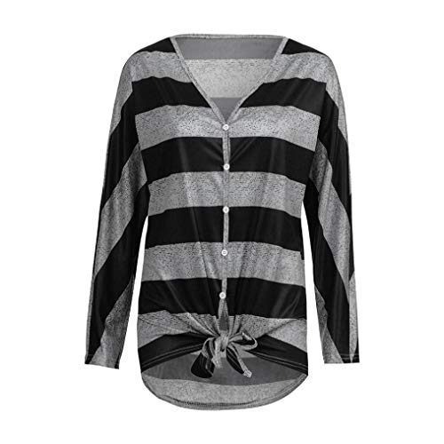 URIBAKE Women Casual Autumn V Neck Stripe Print Button Bandage Long Sleeve Ladies' Blouse Top Tee Shirts