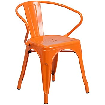 Bon Flash Furniture Orange Metal Indoor Outdoor Chair With Arms