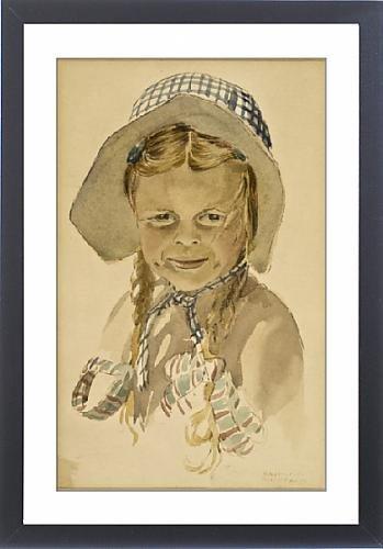 Framed Print of Girl in bonnet