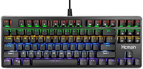 c7a50c9584a ... Hcman Mechanical Keyboard 87 Key Compact Gaming Keyboard,21 LED Backlit  Modes, Blue Switches ...
