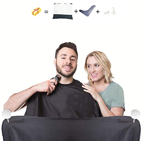 Extra Large Suction Cup Beard Bib Catcher Man Bathroom Beard Apron Kit with Shaping Template Beard Cape for Father Husband Brother Gift