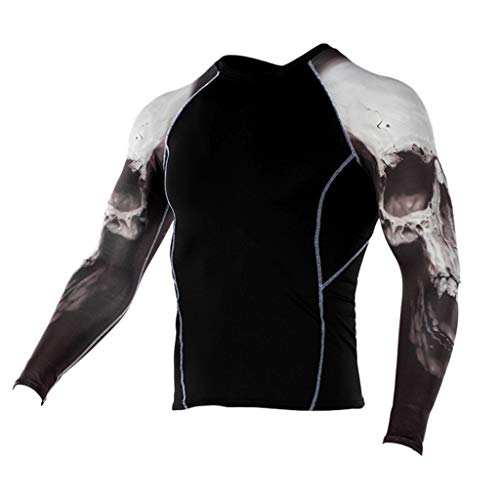 JJLIKER Mens Print Performance Long Sleeve Compression Shirts Cool Dry Baselayer Fitness Elastic T-Shirt Quick-Drying