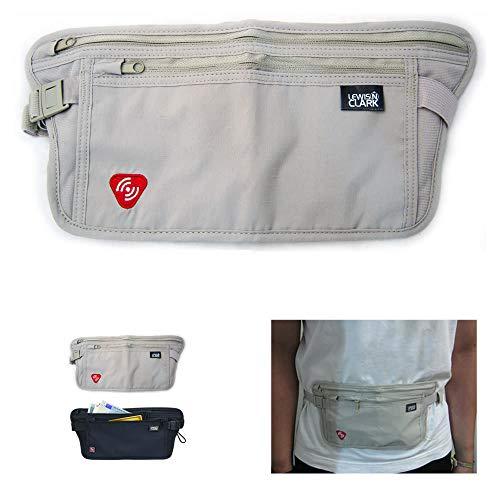 Lewis N. Clark Luggage RFID Blocking Money Belt Travel Pouch + Credit Card, ID, Passport Holder for Women & Men, Taupe