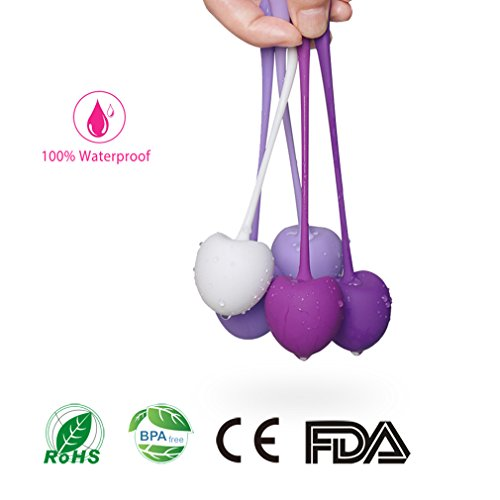 Qise Kegel Exercise Weights Ben Wa Balls Bladder Control&Pelvic Floor Exercises Set Premium Medical Silicone Vaginal Kegel Ball with Training Kit Doctor Recommended for Women (High Time Bump Stop)