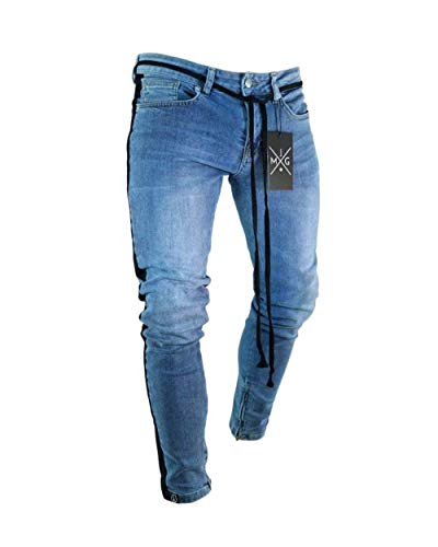 Jeans Fit Mode Da Pants Slim Marca Di Look Con Nero Ripped Biker Stretch Uomo Skinny Destroyed Pantaloni Denim Holes Cher Xqz161