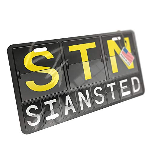 NEONBLOND STN Airport Code for Stansted Aluminum License Plate