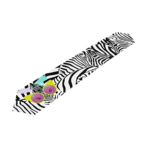 U LIFE Cute Zebra Striped Black And White Animal Table Runner Runners Cloth by ALAZA