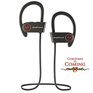 Wireless Sport Bluetooth Headphones - Hd Beats Sound Quality - Sweat Proof Stable Fit in Ear Workout Earbuds - Ergonomic Running Earphones - Noise Cancelling Microphone w/Travel Case - by Bluephonic