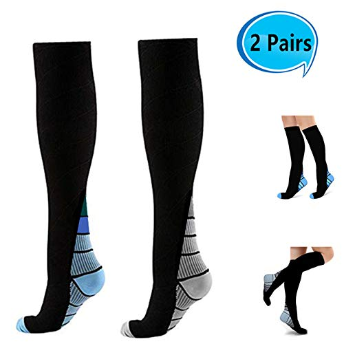 Compression Socks Women(15-25mmHG), 2 Paris Knee High Stretchable Stocking for Running, Athletic, Recovery, Swelling, ()