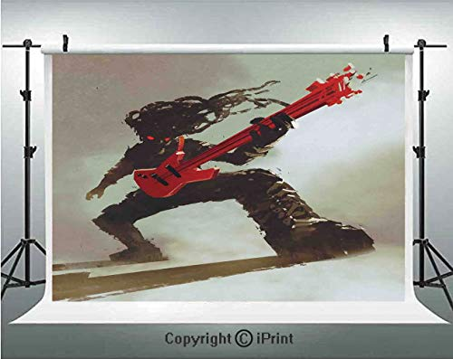Fantasy Photography Backdrops Rocker Guitarist Playing Bass Headbanging Hipster Rock Display Red Eyes Art Print,Birthday Party Background Customized Microfiber Photo Studio Props,8x8ft,Red Grey