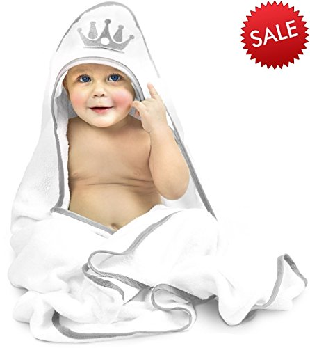 Coolmum Royal Hooded Baby Bath Towel - Luxury Towels for Kids - Super Soft Baby Shower Towel For Girls & Boys - Absorbent Bamboo Hooded Towels - Sized For Newborn (Princess Hooded Bath)
