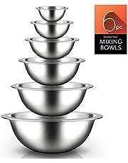 أوعية خلط المطبخ من الفولاذ المقاوم للصدأ - 6 قطع من أوعية الطعام الفاخرة الموفرة للمساحة لسكب الطعام - طقم أوعية تقديم الطعام / التقديم / التطهير / المزج - نوتريشيف NCMB6PC