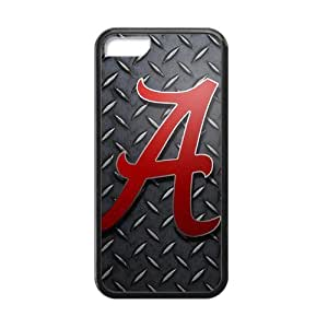 LJF phone case Generic Custom Extraordinary Best Design NCAA University of Alabama Crimson Tide Team Symbol Plastic and TPU Black and White Case Cover for iPhone5C