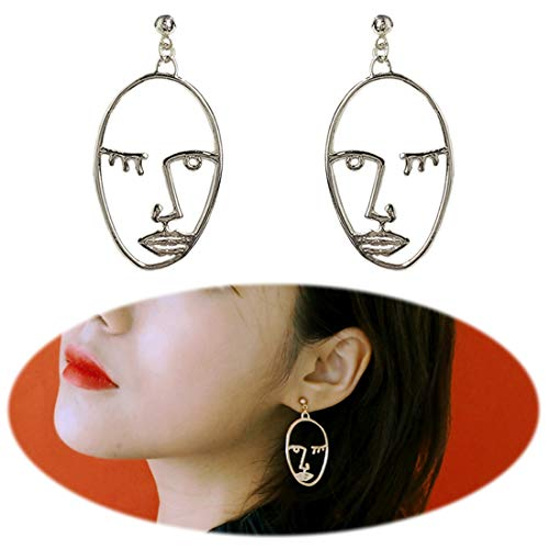 Picasso Earrings (Cleacloud Human Face Dangle Earrings Drop Hoops Studs Cuffs Ear Wrap Pin Vine Dangling Hollow Out Charms Jewelry Silver Style 1)