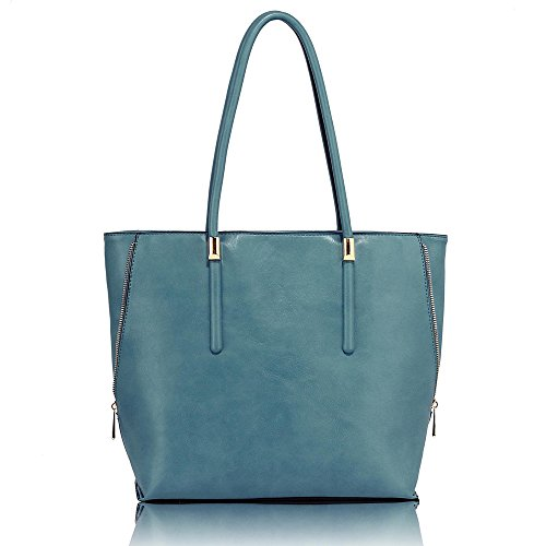 Ladies 3 Blue Office College New Large Handbags Leather Womens Shoulder Bags Design Large Tote EpWx6q7
